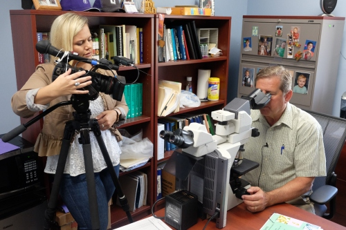Dr. Steve Ensley, right, is featured on Topeka's KSNT-TV.