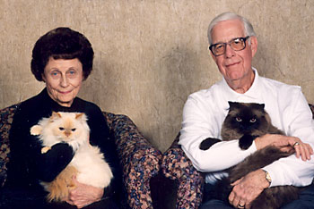 Norma Jean and Lou Ball with their cats