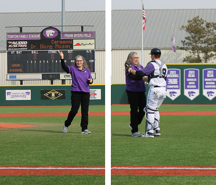 Dr. Diane Mason throws out the first pitch of the home opener for K-State baseball.