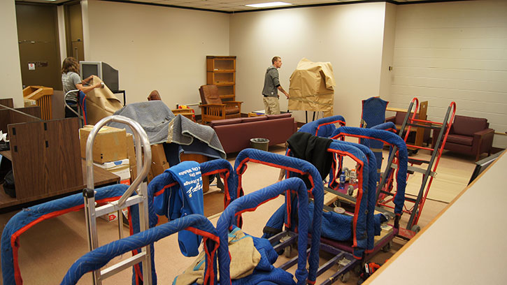 Library packs up to move.
