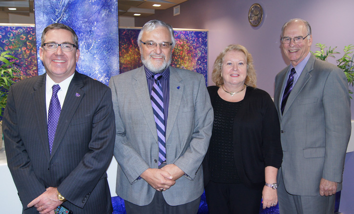 K-State President Kirk Schulz, Dr. Jim Riviere, Dr. Nancy Monteiro-Riviere and Dean Ralph Richardson