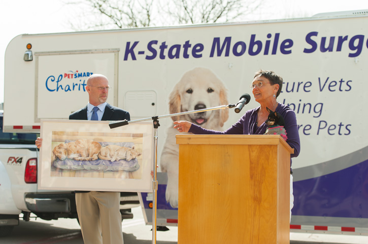 Cheryl Mellentin speaks at dedication ceremony for Mobile Surgery Unit