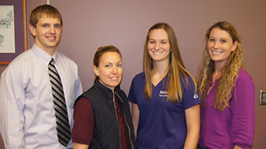 Jacob Hagenmaier, Lacey Robinson, Ellen Unruh and Dr. Kaitlynn Abell