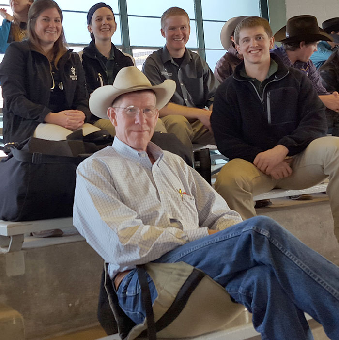 Dr. Warren Beard and fourth-year students at KSU Rodeo