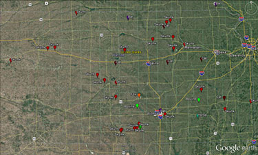 Kansas map for rabies cases