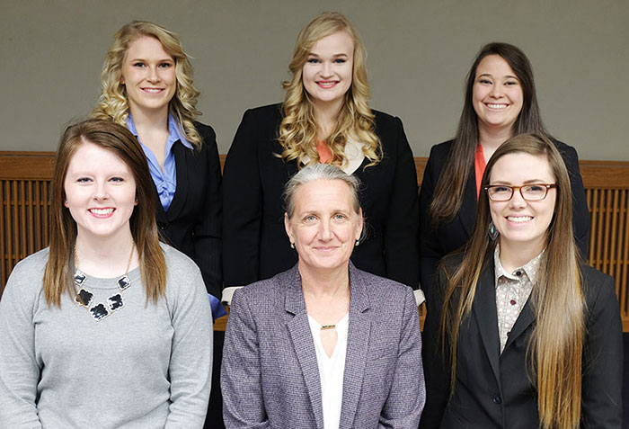 VTPRK students: Back row (from left): Shanlyn Hefley, Anna Hickert and Ashley Zelenka. Front row: Meredith Schmidt, Dean Tammy Beckham and Elizabeth Farney.