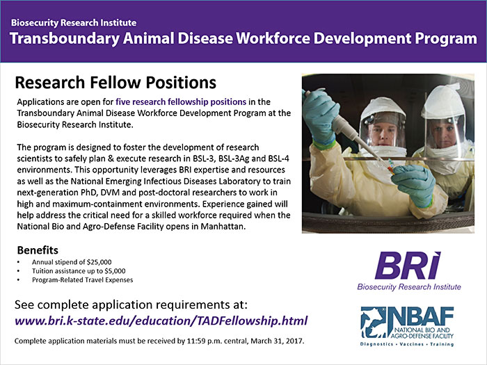 Transboundary Animal Disease Workforce Program fellowships