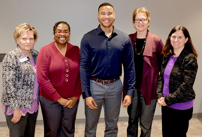 MPH celebration with Barta Stevenson, MPH program; Dr. Tanda Kidd, MPH faculty; Corey Miller, MPH student, graduate December 2017;  Dr. Sandy Proctor, MPH faculty; and Dr. Ellyn Mulcahy, MPH/DMP faculty.