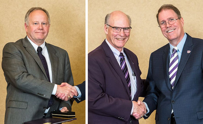 Drs. Ken Burton and Ralph Richardson attend retirement ceremony at K-State