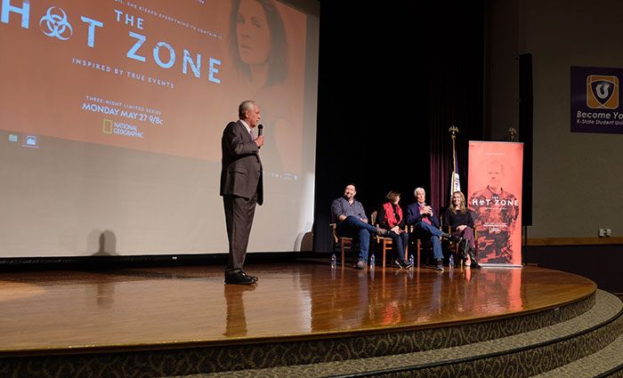 Hot Zone Q&A session with President Myers, Brian Peterson, Drs. Nancy and Jerry Jaax, and Kelly Souders