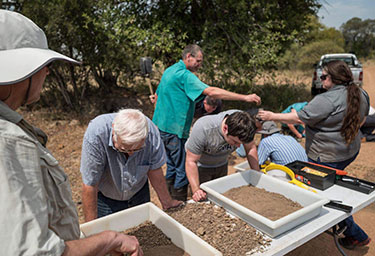 Dr. Juergen Richt, Dr. Bob Swanepol, Dr. Livio Heath, Rusty Ransburgh and Dr. Jessie Trujillo sort through soil collected in a warthog burrow in a game park close to Pretoria, South Africa in search of ticks as part of a study on the spread of African Swine Fever.