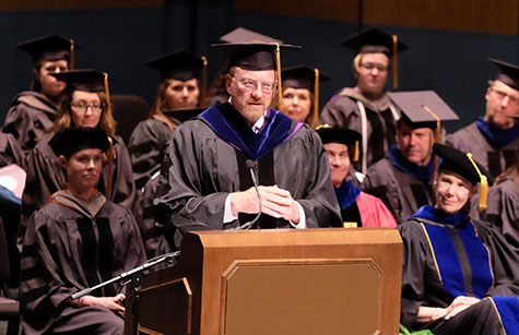 File photo: Dr. Mike Apley speaks at 2018 commencement